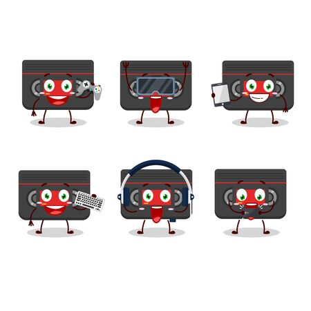 Retro cassette cartoon character are playing games with various cute emoticons