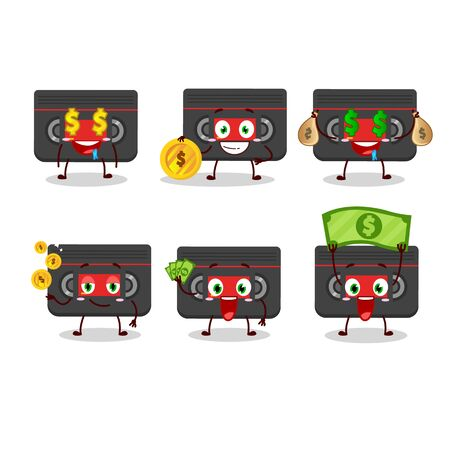 Retro cassette cartoon character with cute emoticon bring money