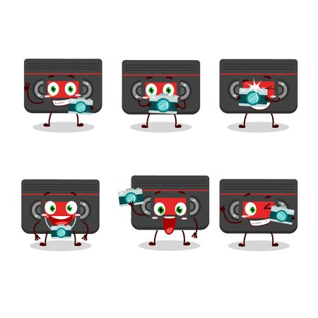 Photographer profession emoticon with retro cassette cartoon character
