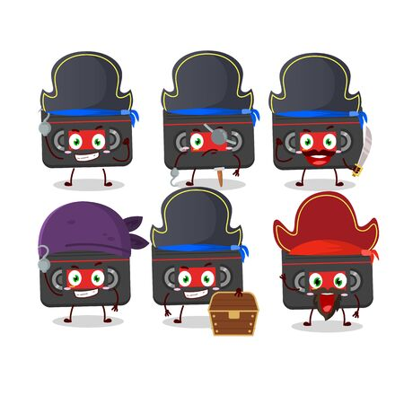 Cartoon character of retro cassette with various pirates emoticons