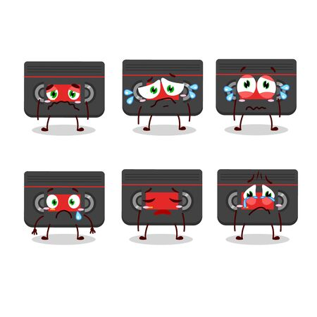 Retro cassette cartoon character with sad expression