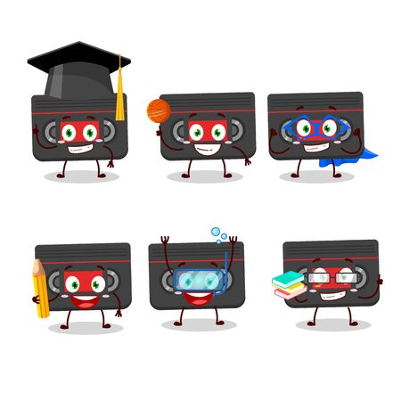 School student of retro cassette cartoon character with various expressions