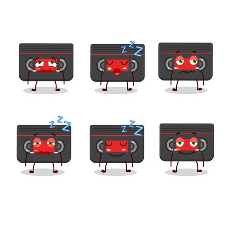 Cartoon character of retro cassette with sleepy expression