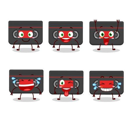 Cartoon character of retro cassette with smile expression