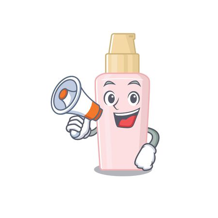 Mascot design of foundation announcing new products on a megaphone