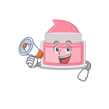 Body scrub carton picture style giving announcement on a megaphone Çizim