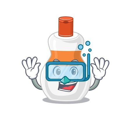 Body lotion mascot design swims with diving glasses