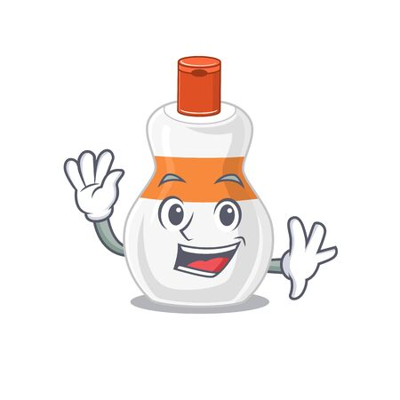 A charismatic body lotion mascot design concept smiling and waving hand