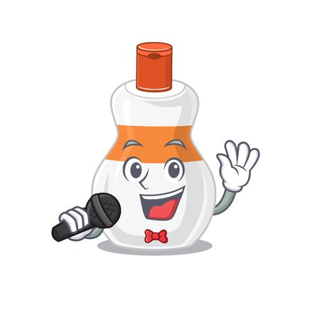 caricature character of body lotion happy singing with a microphone