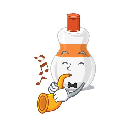 Body lotion musician of cartoon picture playing a trumpet on stage