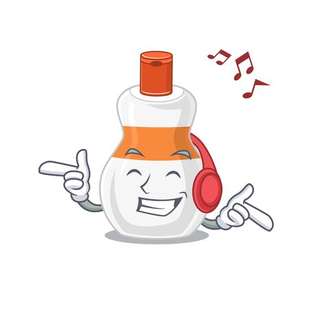 A Caricature design style of body lotion listening music on headphone 向量圖像