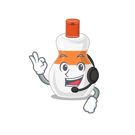 Body lotion caricature character concept wearing headphone