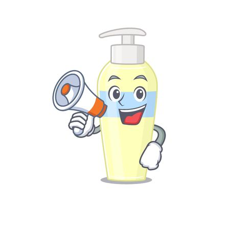 Mascot design of serum announcing new products on a megaphone