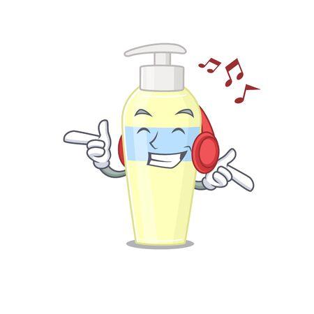 Serum Cartoon design concept listening music on headphone 向量圖像