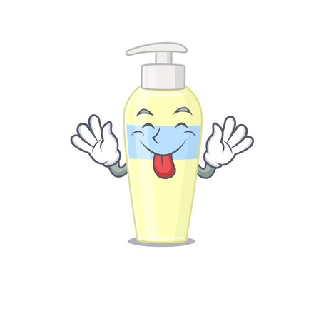 Funny serum cartoon design with tongue out face