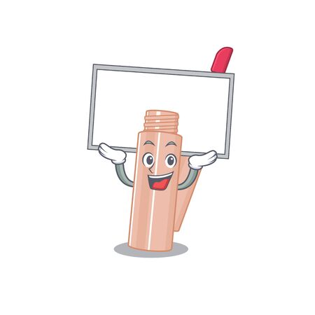 Caricature character of lip tint succeed lift up a board