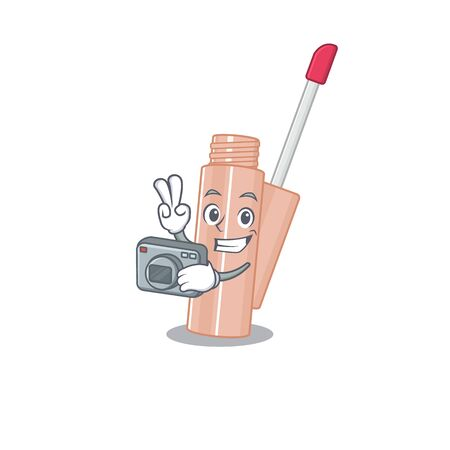 a professional photographer lip tint cartoon picture working with camera Ilustração