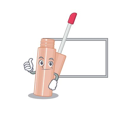 Lip tint cartoon design with Thumbs up finger bring a white board. Vector illustration
