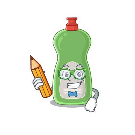 A student dishwashing liquid mascot design study at home during pandemic Illusztráció