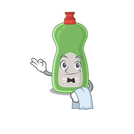 A Caricature design style of dishwashing liquid as a waiter with a white napkin