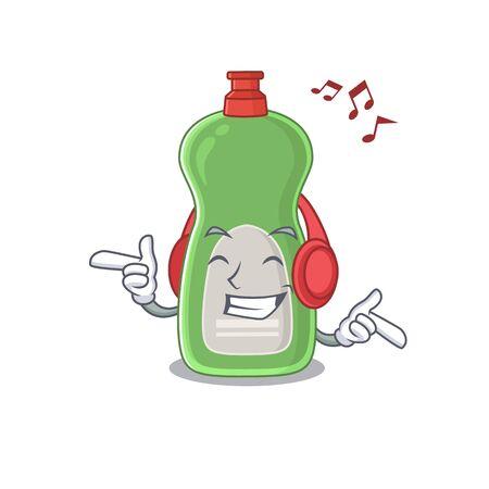 A Caricature design style of dishwashing liquid listening music on headphone