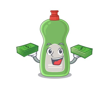 A wealthy dishwashing liquid cartoon character having much money on hands