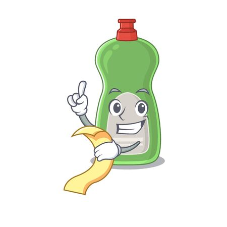 Dishwashing liquid mascot character style with food and beverage menu on his hand