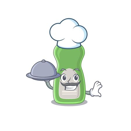 mascot character style of dishwashing liquid chef serving dinner on tray
