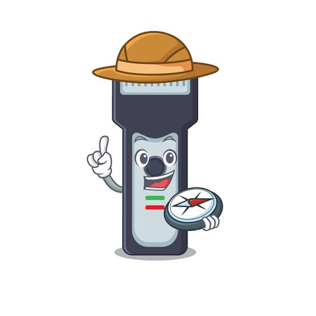 Electric shaver mascot design style of explorer using a compass during the journey