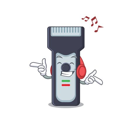 A Caricature design style of electric shaver listening music on headphone