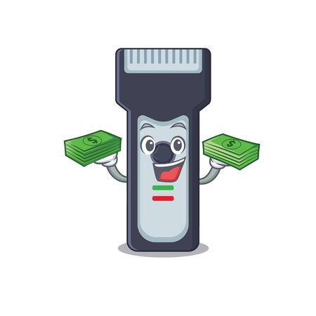 A wealthy electric shaver cartoon character having much money on hands 写真素材 - 150469398
