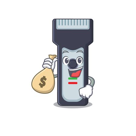 Crazy rich Cartoon picture of electric shaver having money bags. Vector illustration