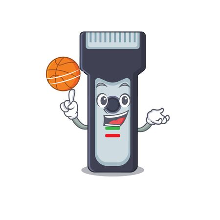 An athletic electric shaver cartoon mascot design with basketball. Vector illustration