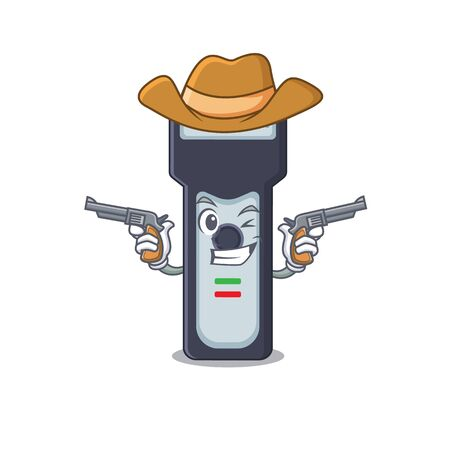 A wise cowboy of electric shaver Cartoon design with guns