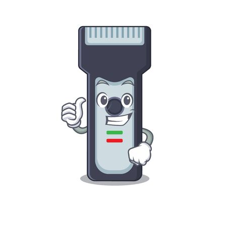 Electric shaver cartoon picture design showing OK finger pose