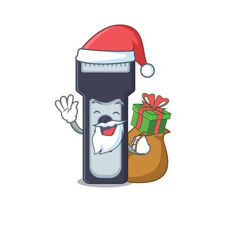 Cartoon design of electric shaver Santa having Christmas gift