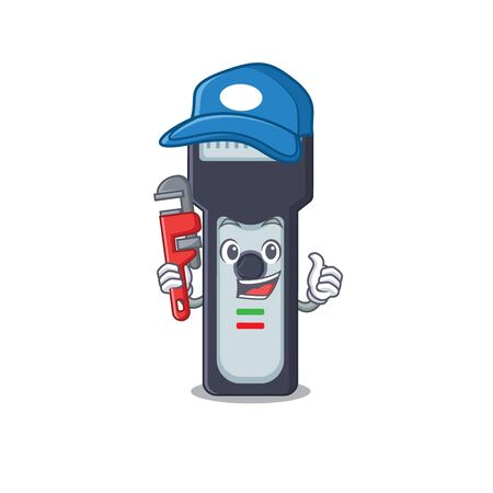 cartoon mascot design of electric shaver as a Plumber with tool Vettoriali