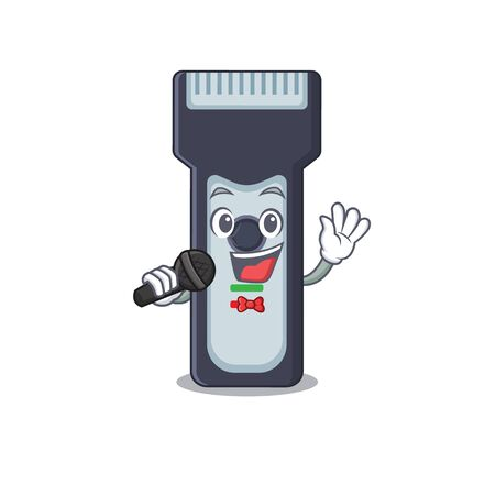 caricature character of electric shaver happy singing with a microphone 向量圖像