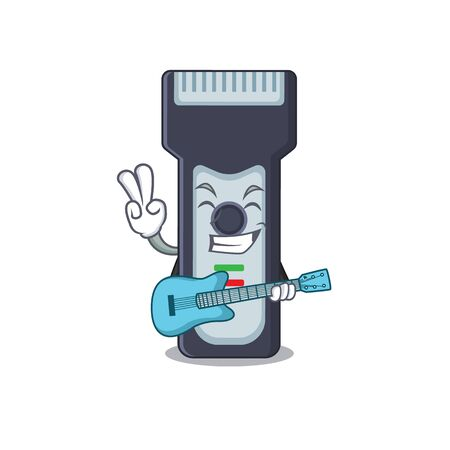 Electric shaver musician cartoon design playing a guitar