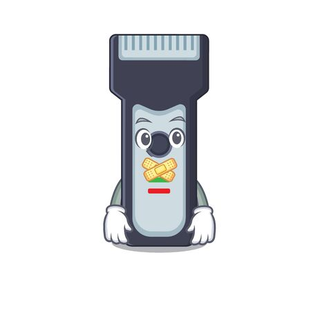 Electric shaver cartoon character style having strange silent face Vettoriali