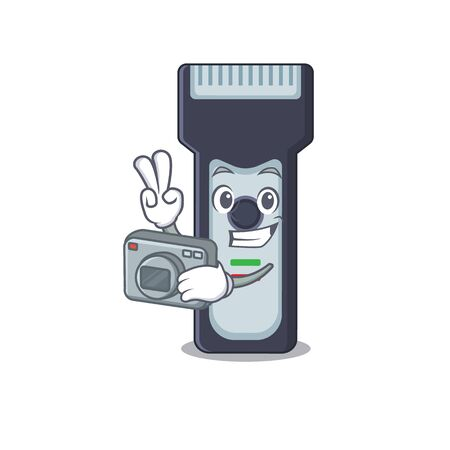 a proficient photographer electric shaver cartoon design concept working with camera Vettoriali