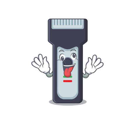 A mascot design of electric shaver having a funny crazy face