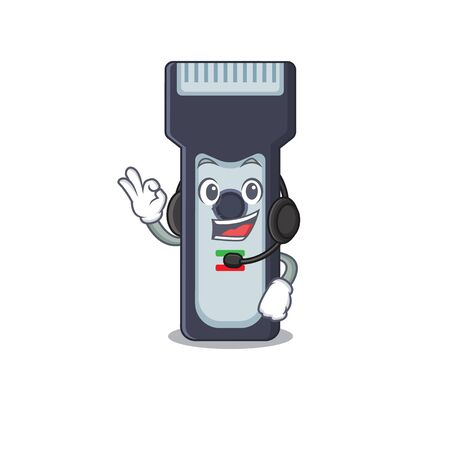 Electric shaver caricature character concept wearing headphone