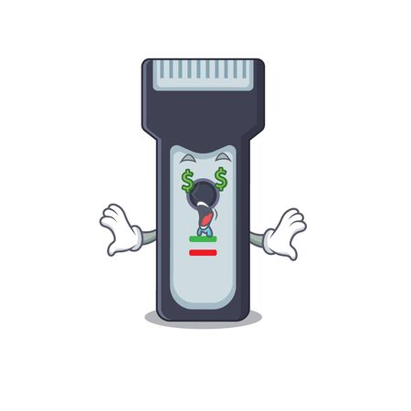 happy rich cartoon concept of electric shaver with money eyes