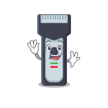 A charismatic electric shaver mascot design concept smiling and waving hand Illusztráció