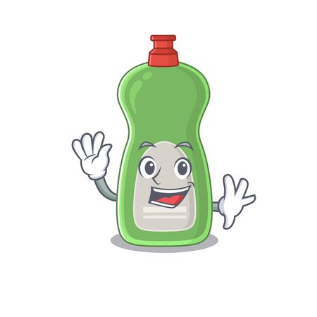 A charismatic dishwashing liquid mascot design concept smiling and waving hand