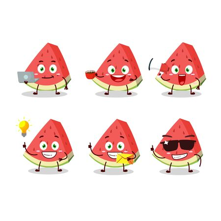 Slash of watermelon cartoon character with various types of business emoticons