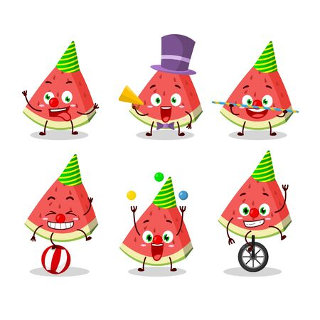 Cartoon character of slash of watermelon with various circus shows