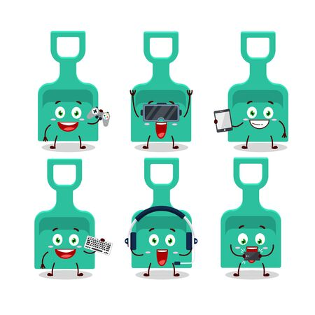 Sand shovel cartoon character are playing games with various cute emoticons