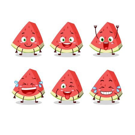 Cartoon character of slash of watermelon with smile expression Ilustrace